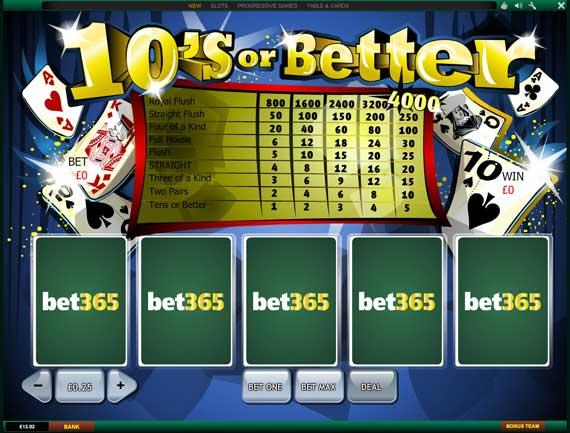 Bet365 Tens or Better