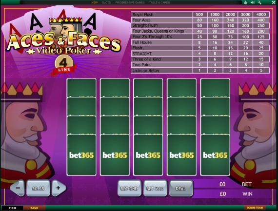 Bet365 Aces & Faces