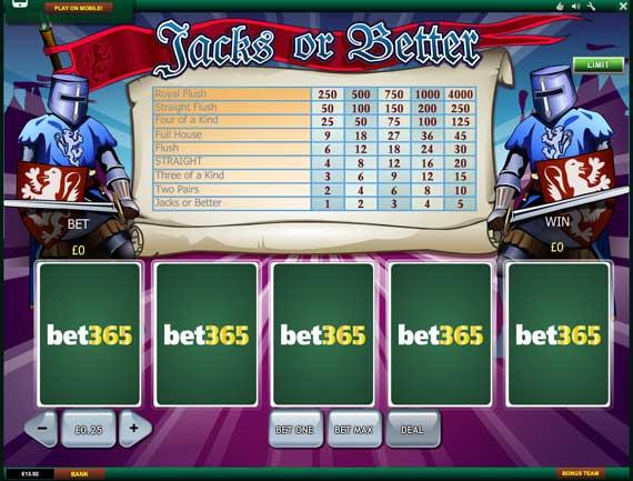 Bet365 Jacks or Better