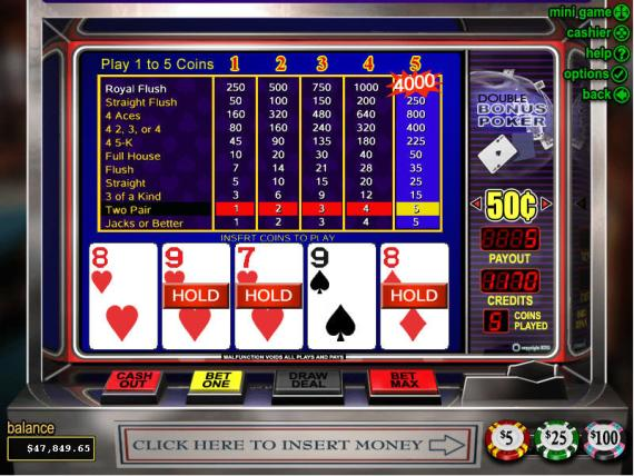 Classy Coin Casino Double Bonus Poker