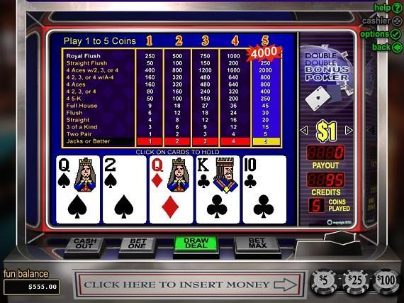 video poker trainer double bonus