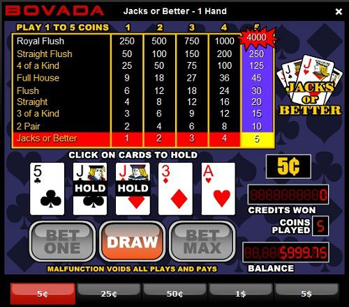 Ladbrokes Jacks or Better Video Poker