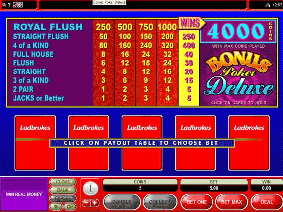 Ladbrokes Bonus Poker Deluxe
