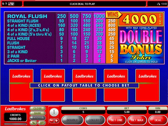 Ladbrokes Double Bonus Poker