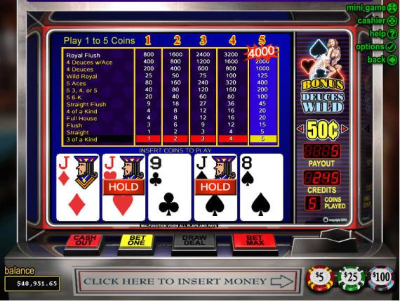 On Bling Casino Bonus Deuces Wild