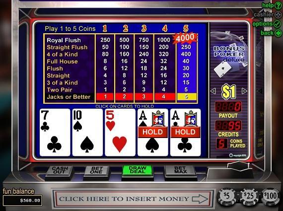 On Bling Casino Bonus Poker Deluxe