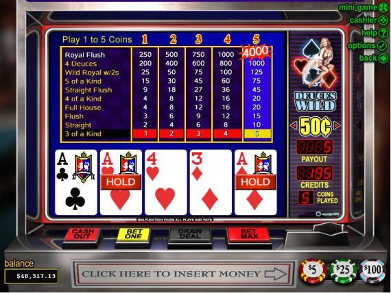 On Bling Casino Deuces Wild