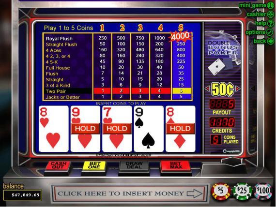 On Bling Casino Double Bonus Poker