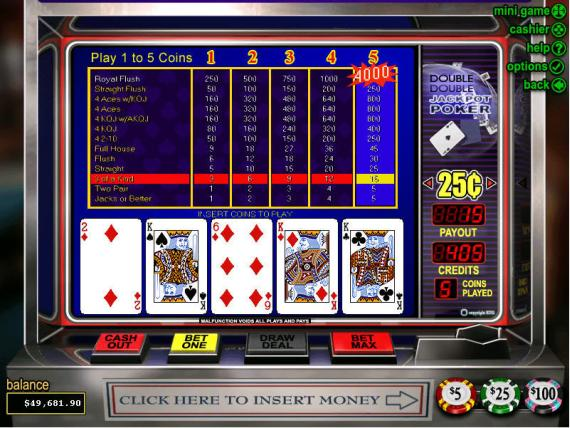 On Bling Casino Double Double Jackpot Poker