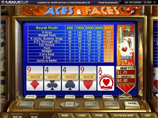 Miami Club Casino Aces & Faces
