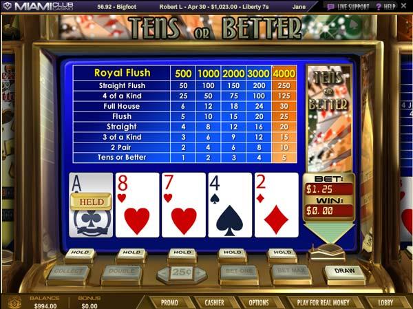 Miami Club Casino Tens or Better